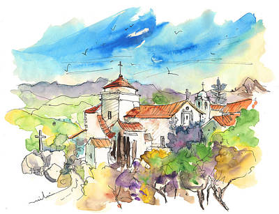 Travel Sketch Drawing - Marvao In Portugal 02 by Miki De Goodaboom