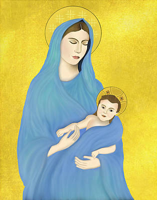 Nativity Digital Art - Mary And Child by Charis Estelle Olney