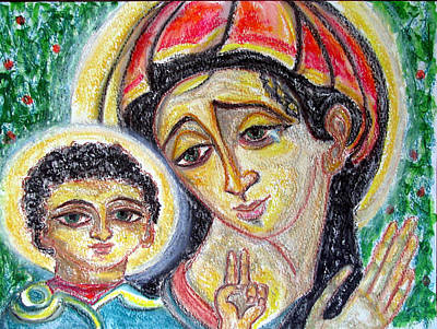 Painting - Mary And Jesus Of Green Eyes by Sarah Hornsby