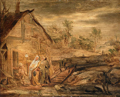 Shawl Painting - Mary And Joseph Outside The Inn, John Runciman by Litz Collection