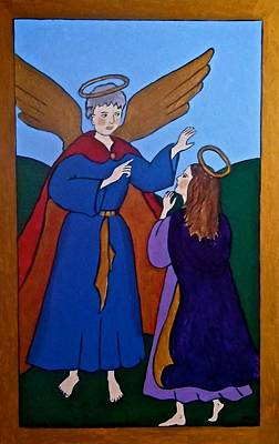 Painting - Mary And The Angel by Stephanie Moore