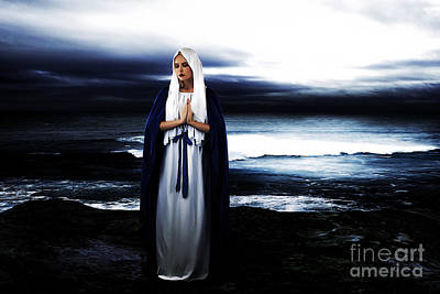 Madonnas Photograph - Mary By The Sea by Cinema Photography