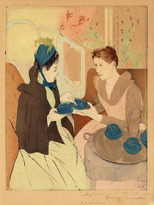 Tea Party Painting - Mary Cassatt, Afternoon Tea Party, American by Quint Lox