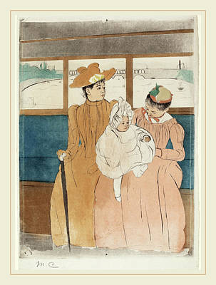 Light Orange Drawing - Mary Cassatt, In The Omnibus, American, 1844-1926 by Litz Collection