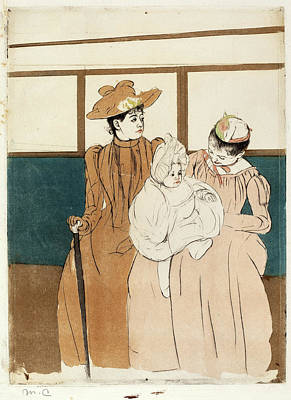 Light Orange Drawing - Mary Cassatt, In The Omnibus, American, 1844 - 1926 by Quint Lox