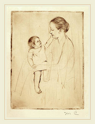 Caress Drawing - Mary Cassatt, The Caress, American, 1844-1926 by Litz Collection