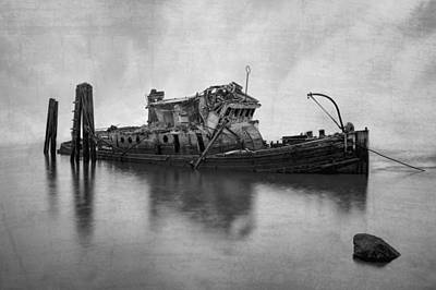 White Steamer Photograph - Mary D Hume In Bw by Debra and Dave Vanderlaan
