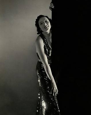 Mary Duncan Wearing A Sequin Dress Art Print by Edward Steichen