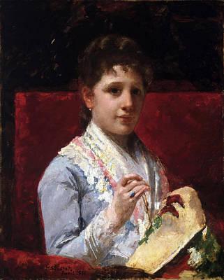 Mary Stevenson Cassatt Painting - Mary Ellison Embroidering by Mary Stevenson Cassatt
