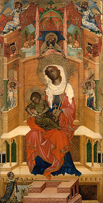 Christian Artwork Painting - Mary Enthroned With The Child by Mountain Dreams