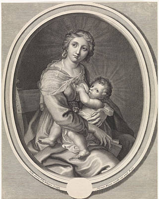 Mary Gives The Christ Child Breast Feeding Art Print by Pieter Van Schuppen And Stella And Hermann Weyen