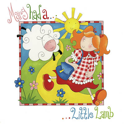 Nursery Rhyme Painting - Mary Had A Little Lamb by P.s. Art Studios