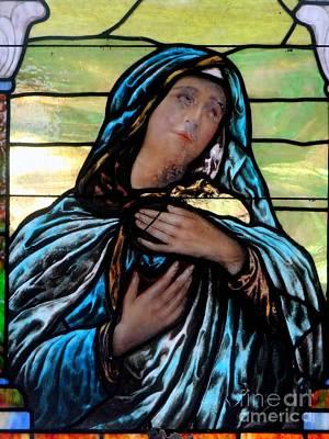 Photograph - Mary In Blue Shroud by Ed Weidman