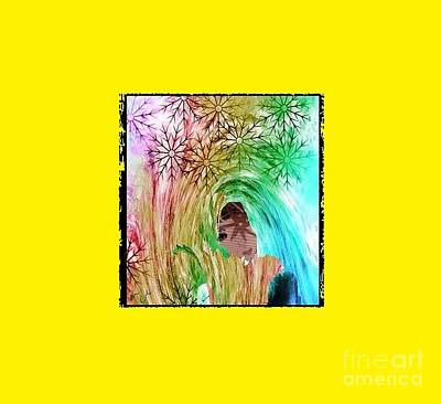 Art Print featuring the digital art Mary In The Field by Ann Calvo