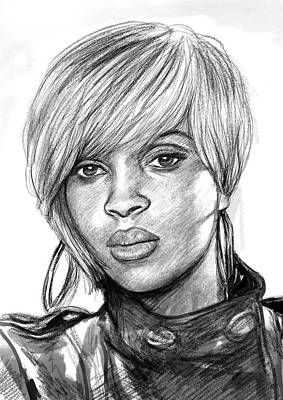 Abstract Pop Drawing - Mary J Blige Art Drawing Sketch Portrait by Kim Wang
