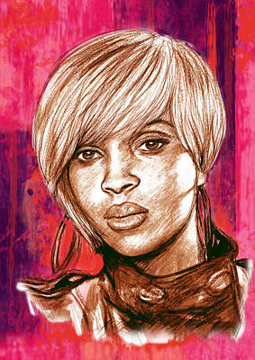 Mary J. Blige Stylised Pop Art Drawing Potrait Poser Art Print by Kim Wang