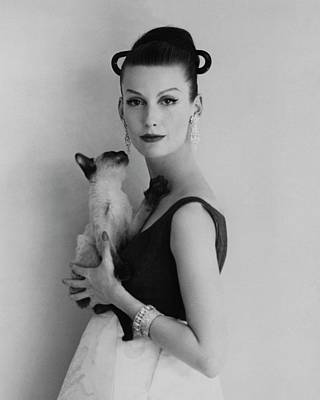 Photograph - Mary Jane Russell Holding A Cat by Karen Radkai