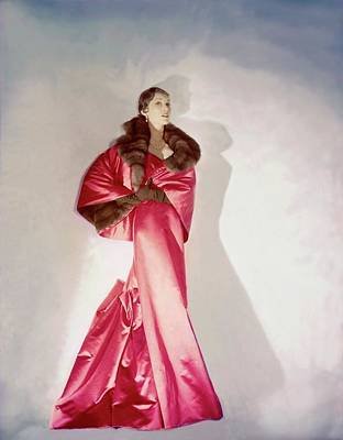 Mary Jane Russell Wearing A Pink Satin Gown Art Print by Horst P. Horst