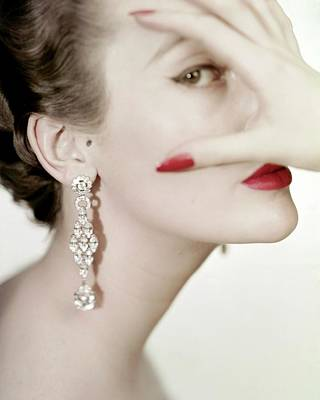 Red Nail Polish Photograph - Mary Jane Russell Wearing Earrings by Clifford Coffin