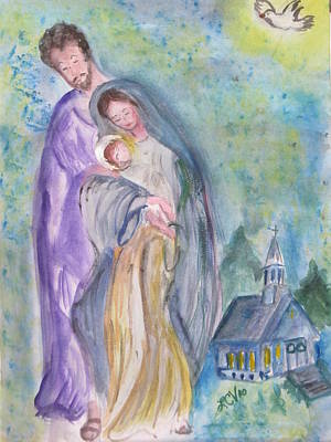 Joesph Painting - Mary Joesph And Baby Jesus by Lucille  Valentino