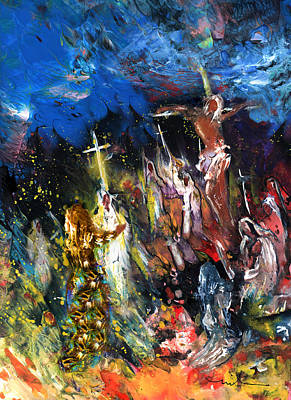 Pop Art Rights Managed Images - Mary Magdalene At The Cross Royalty-Free Image by Miki De Goodaboom