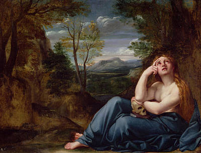Tear Painting - Mary Magdalene In A Landscape, C.1599 by Annibale Carracci