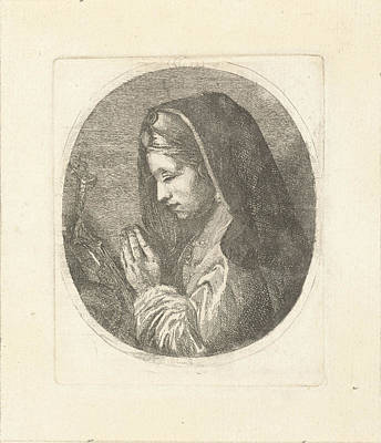 St Mary Magdalene Drawing - Mary Magdalene In Prayer, Louis Bernard Coclers by Louis Bernard Coclers And Anonymous