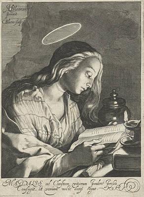 St Mary Magdalene Painting - Mary Magdalene Reading, Cornelis Bloemaert II by Cornelis Bloemaert (ii)