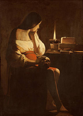 Mary Magdalene With A Night Light, C.1640-35 Oil On Canvas Art Print by Georges de la Tour