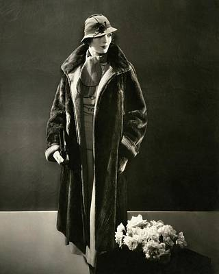 Photograph - Mary Oakes Wearing A Peggy Morris Scarf And Rose by Edward Steichen