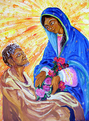 Painting - Mary Of Guadalupe Giving Roses To Juan Diego by Sarah Hornsby