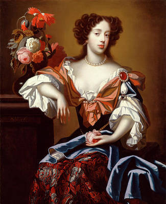 Flower Center Painting - Mary Of Modena Signed, Center Left S by Litz Collection