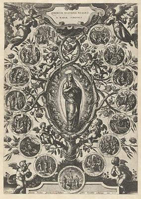 Mary Of The Rosary, Print Maker Jan Van Der Straet Art Print by Jan Van Der Straet And Philips Galle