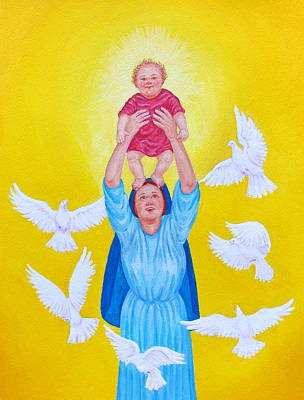 Painting - Mary Offers Her Child Jesus To His Father by Michele Myers