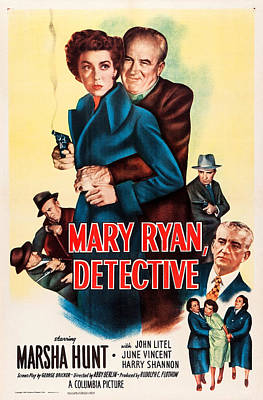 1940s Movies Photograph - Mary Ryan, Detective, Us Poster by Everett