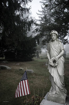 Autumn Photograph - Cemetery Statue by Crystal Wightman