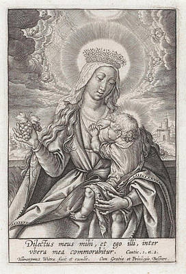 Mary Suckling The Christ Child, Hieronymus Wierix Art Print by Hieronymus Wierix