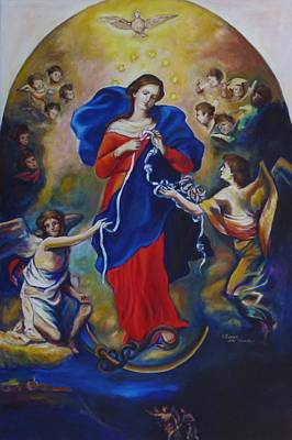 St Francis Prayer Painting - Mary Undoer Of Knots by Sheila Diemert