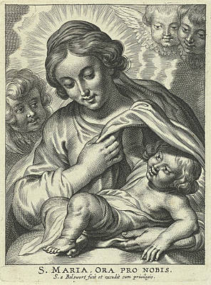 Prayer Drawing - Mary With Child And Cherubs by Schelte Adamsz. Bolswert And Peter Paul Rubens