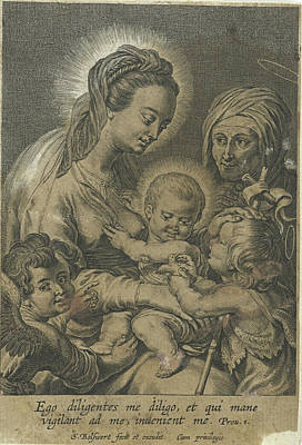 Grapes Drawing - Mary With Child And John The Baptist As A Child With Anna by Schelte Adamsz. Bolswert And Peter Paul Rubens And Schelte Adamsz. Bolswert