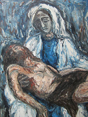 Art Print featuring the painting Mary With Jesus by Cheryl Pettigrew