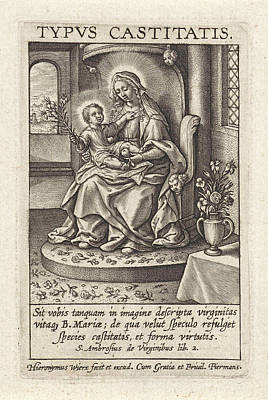 Mary With The Christ Child, Hieronymus Wierix Print by Hieronymus Wierix