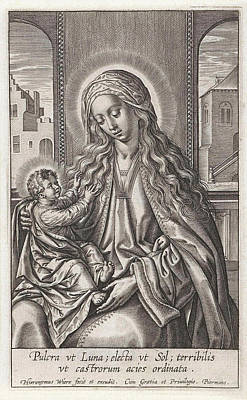 Children Sitting Drawing - Mary With The Christ Child On Her Lap, Print Maker by Hieronymus Wierix And Piermans