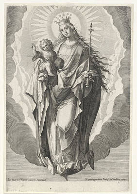 Work On Paper Drawing - Mary With The Christ Child On The Crescent Moon by Quint Lox