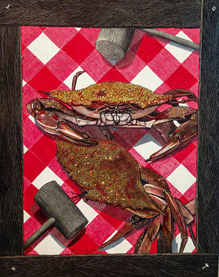 Blue Crab Mixed Media - Maryland Blues by Betsy Frahm