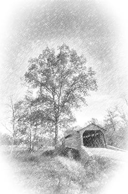 Maryland Covvered Bridge In Pencil Art Print