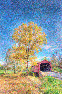 Maryland Covvered Bridge Oil Painting Art Print