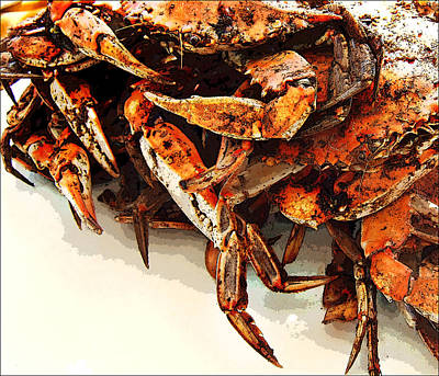 Digital Art - Maryland Crabs by Ginger Wakem