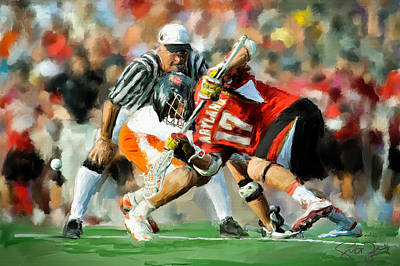 College Lacrosse Faceoff 2 Print by Scott Melby