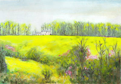 Art Print featuring the painting Maryland Landscape Springtime Rt40 East Original Painting by G Linsenmayer